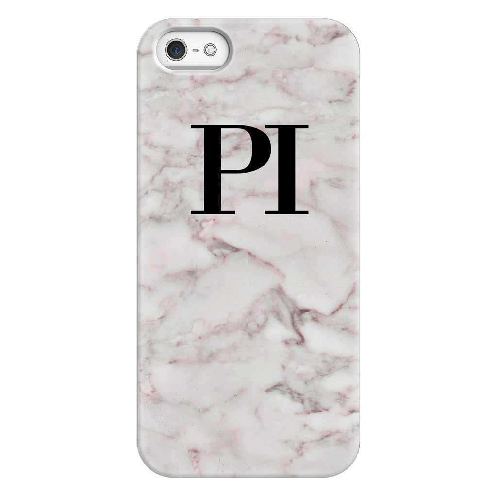 Personalised White Napoli Marble Initials iPhone 5/5s/SE (2016) Case