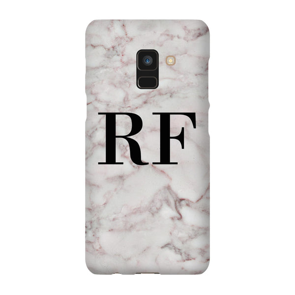 Personalised White Napoli Marble Initials Samsung Galaxy A8 Case