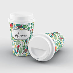 Personalised White Parrot Name Reusable Coffee Cup