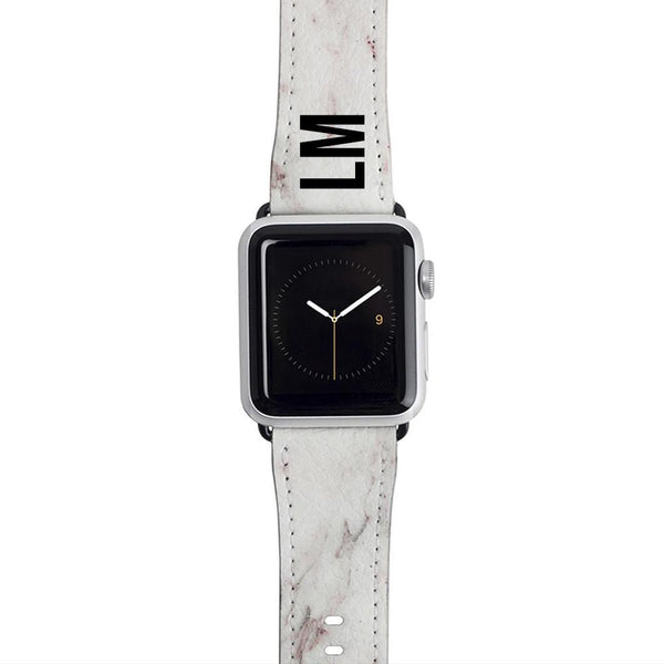 Personalised White Rosa Marble Apple Watch Strap