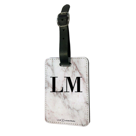 Personalised White Rosa Marble Initials Luggage Tag