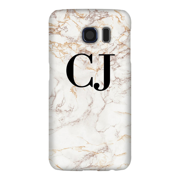 Personalised White Marble Initials Samsung Galaxy S6 Edge Case