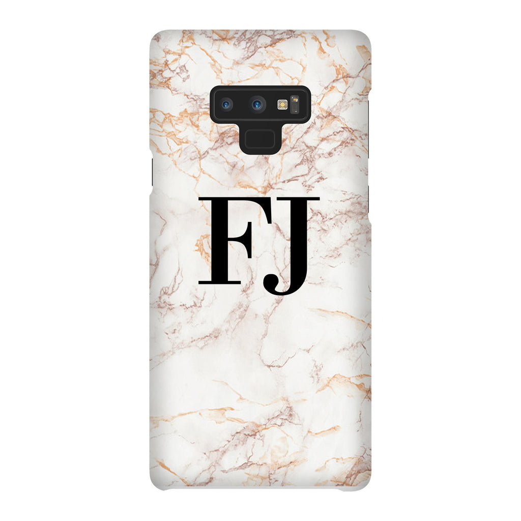 Personalised White Marble Initials Samsung Galaxy Note 9 Case