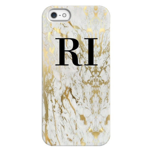 Personalised White x Gold Marble Initials iPhone 5/5s/SE (2016) Case