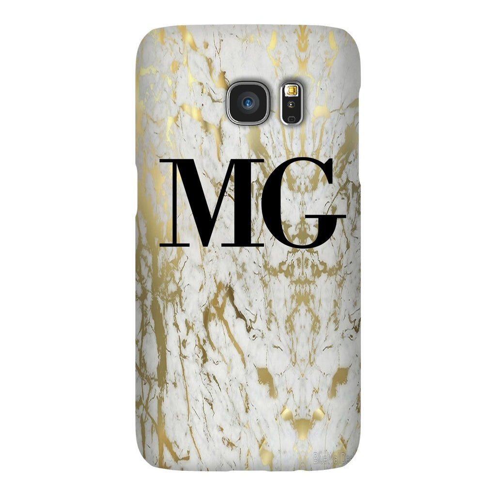 Personalised White x Gold Marble Initials Samsung Galaxy S7 Case