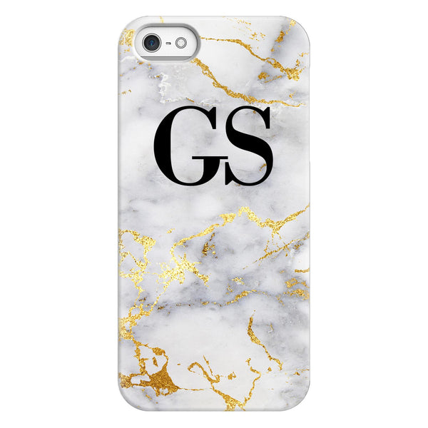 Personalised White x Gold Streaks Marble Initials iPhone 5/5s/SE (2016) Case