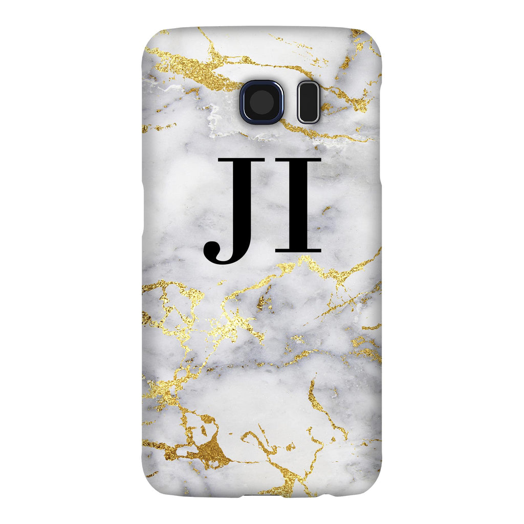 Personalised White x Gold Streaks Marble Initials  Samsung Galaxy S6 Edge Case