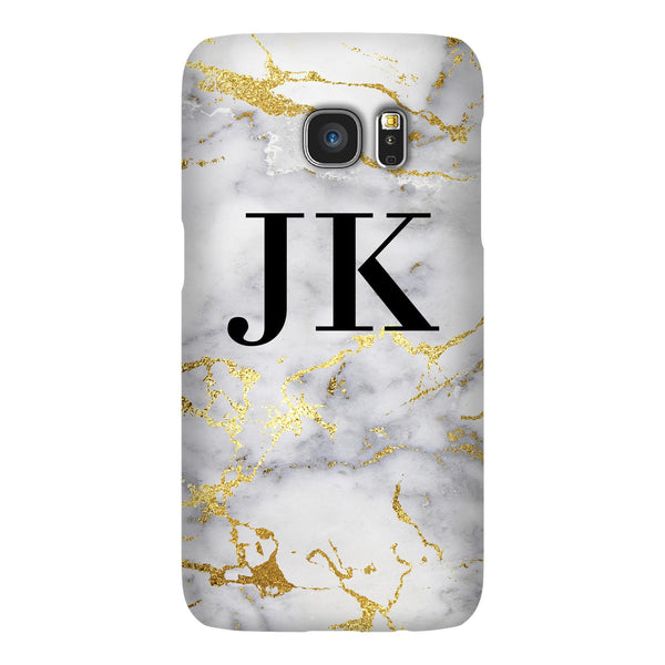 Personalised White x Gold Streaks Marble Initials Samsung Galaxy S7 Edge Case