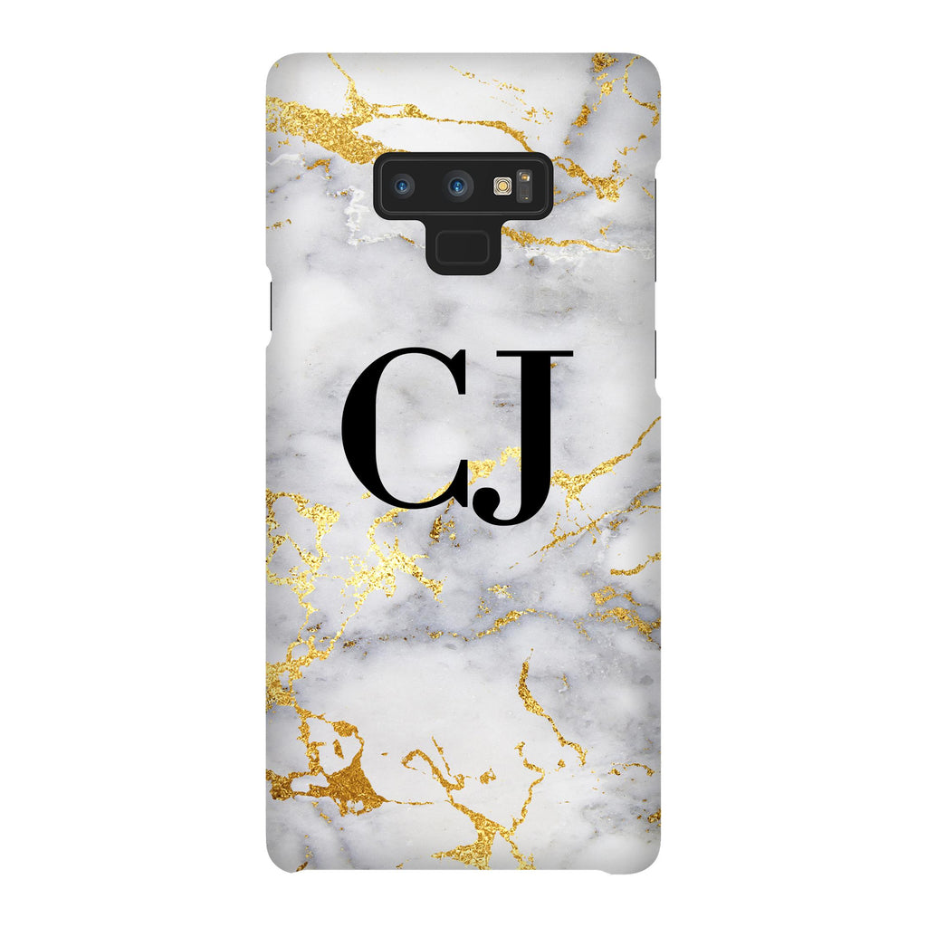 Personalised White x Gold Streaks Marble Initials Samsung Galaxy Note 9 Case