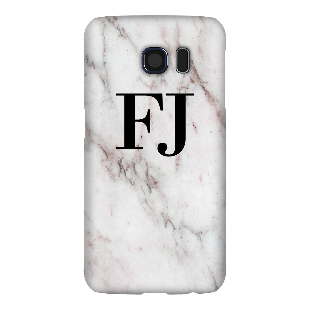 Personalised White Rosa Marble Initial Samsung Galaxy S6 Edge Case