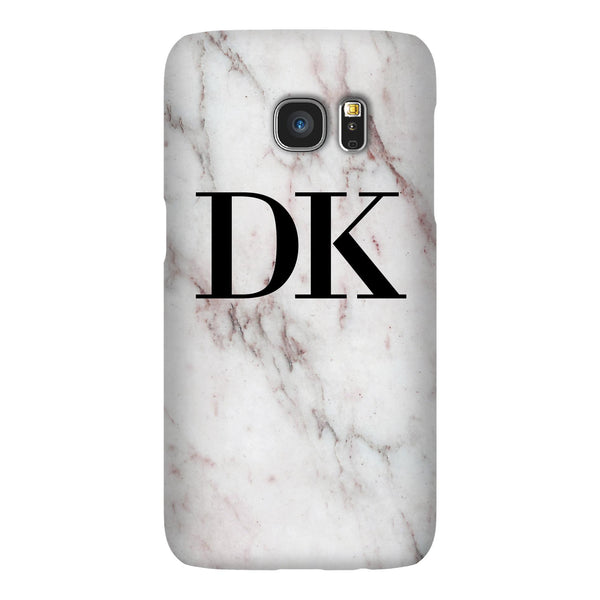 Personalised White Rosa Marble Initials Samsung Galaxy S7 Edge Case