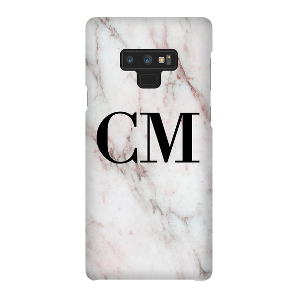Personalised White x Rosa Marble Initials Samsung Galaxy Note 9 Case