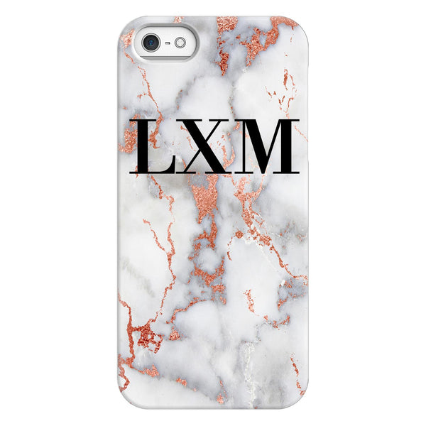Personalised White x Rose Gold Marble Initials iPhone 5/5s/SE (2016) Case