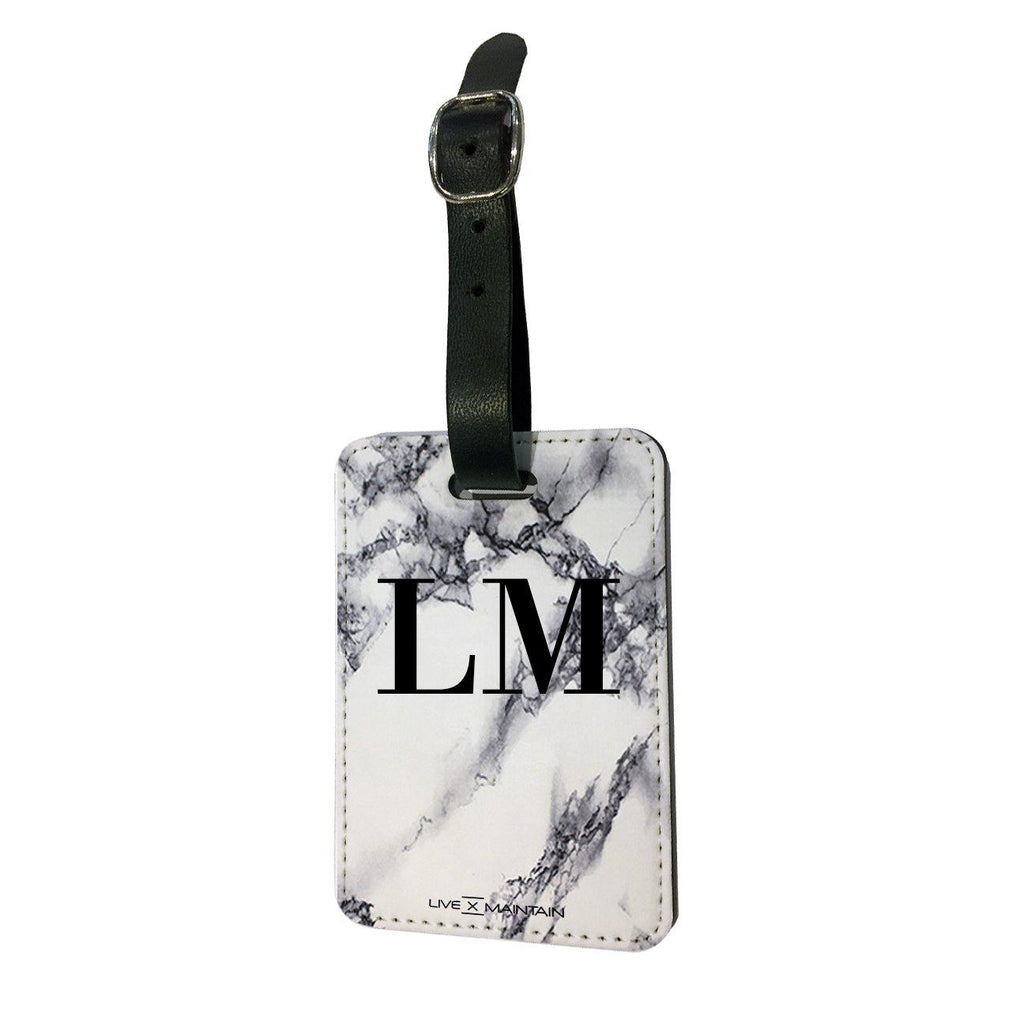 Personalised White x Black Marble Initials Luggage Tag