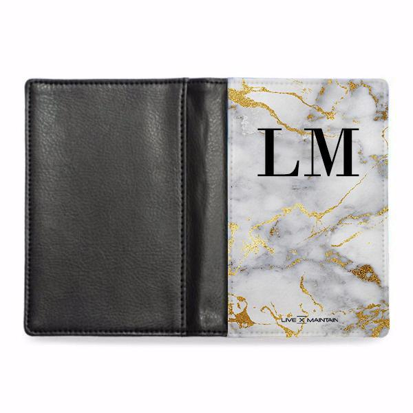 Personalised White x Gold Streaks Marble Initials Passport Cover