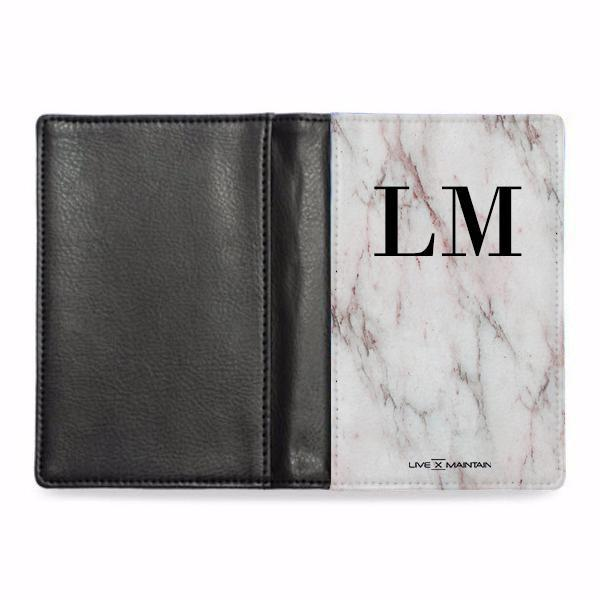 Personalised White x Rosa Marble Initials Passport Cover