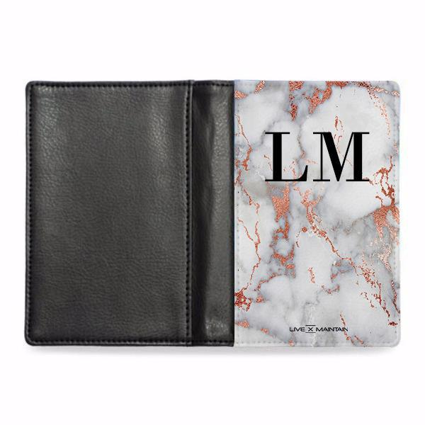 Personalised White x Rose Gold Marble Initials Passport Cover