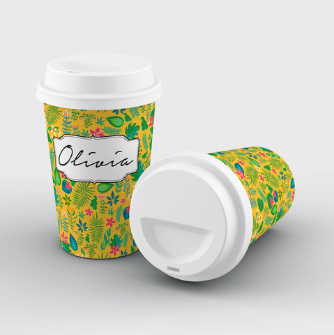Personalised Yellow Leaf Name Reusable Coffee Cup