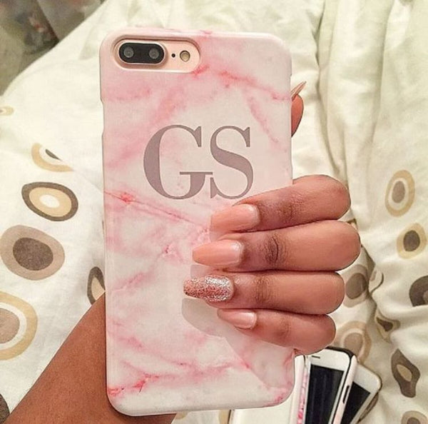 Personalised Cotton Candy Marble Initials iPhone XS Max Case