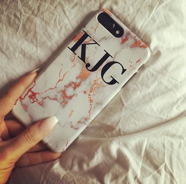 Personalised White x Rose Gold Marble Initials iPhone XR Case