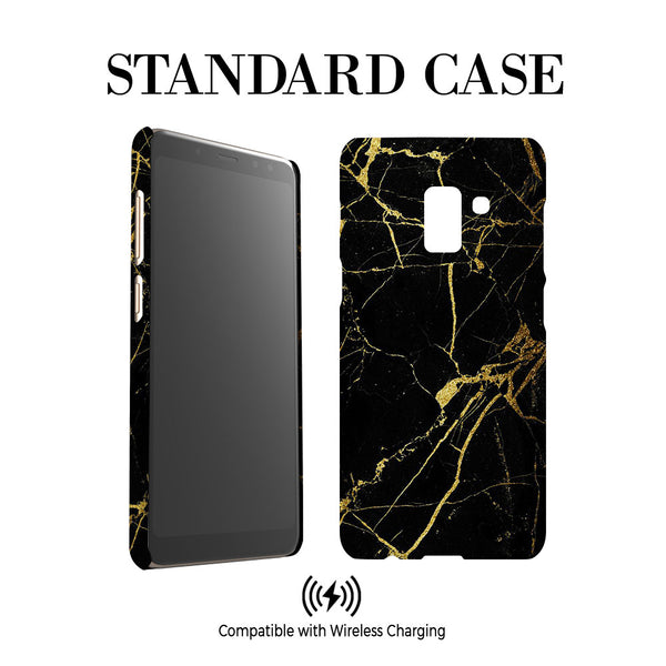 Personalised Black x Gold Marble Initials Samsung Galaxy A8 Case