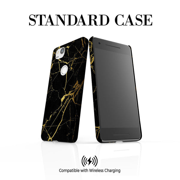Personalised Black x Gold Marble Google Pixel 2 Case