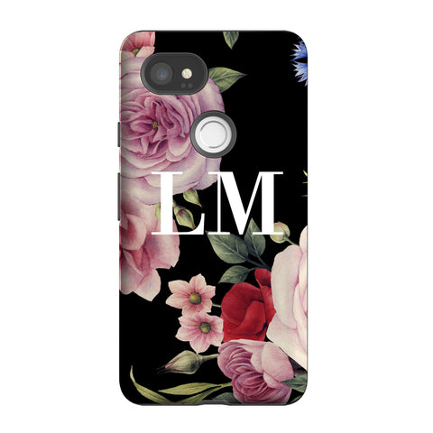 Personalised Black Floral Blossom Initials Google Pixel 2 XL Case