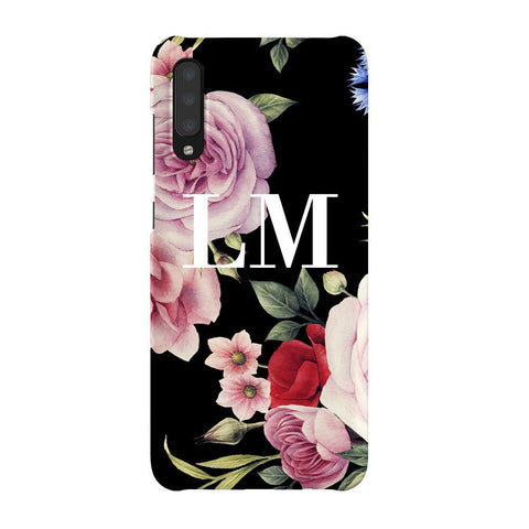 Personalised Black Floral Blossom Initials Samsung Galaxy A70 Case