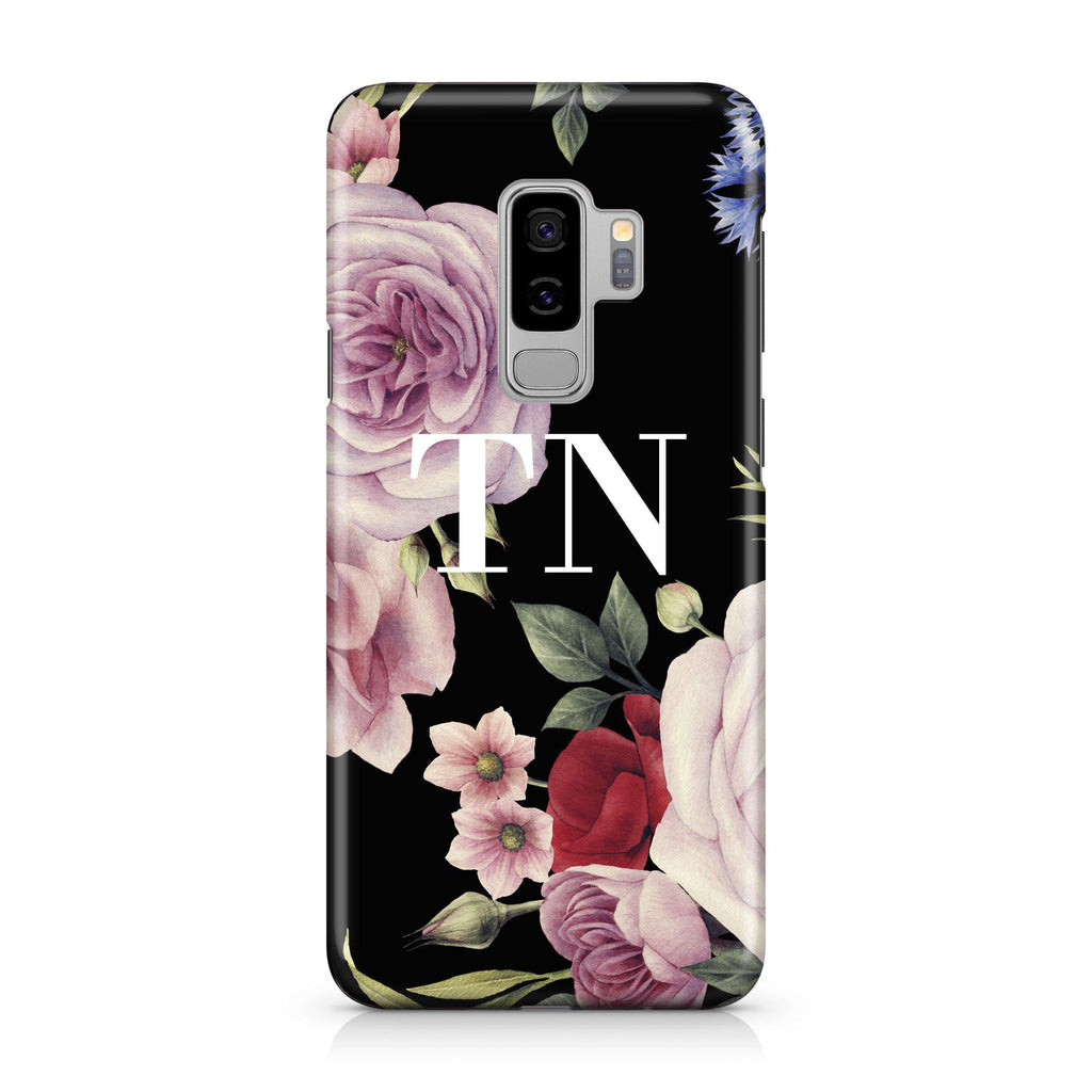 Personalised Black Floral Blossom Initials Samsung Galaxy S9 Plus Case