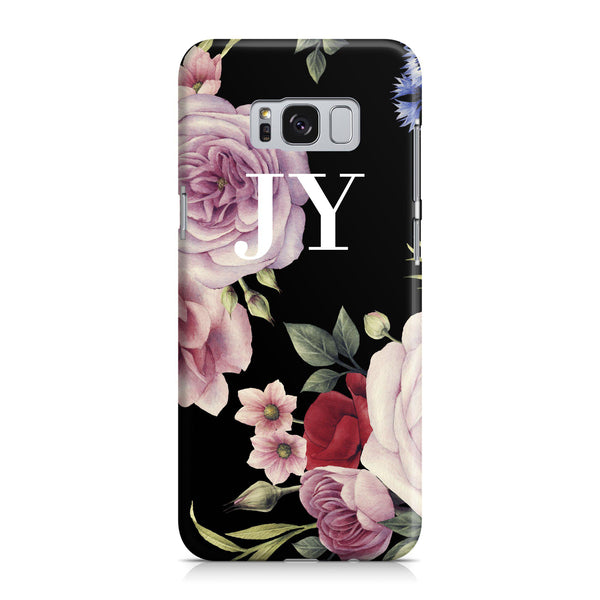 Personalised Black Floral Blossom Initials Samsung Galaxy S8 Case