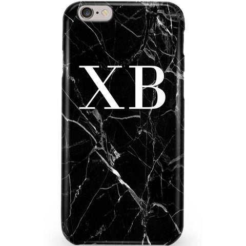 Personalised Black Marble Initials Phone Case