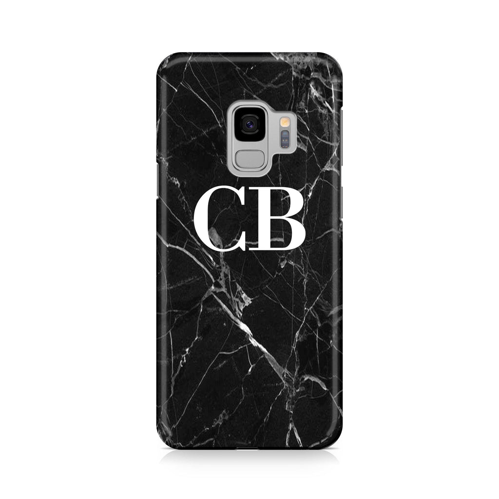 Personalised Black Marble Initials Samsung Galaxy S9 Case