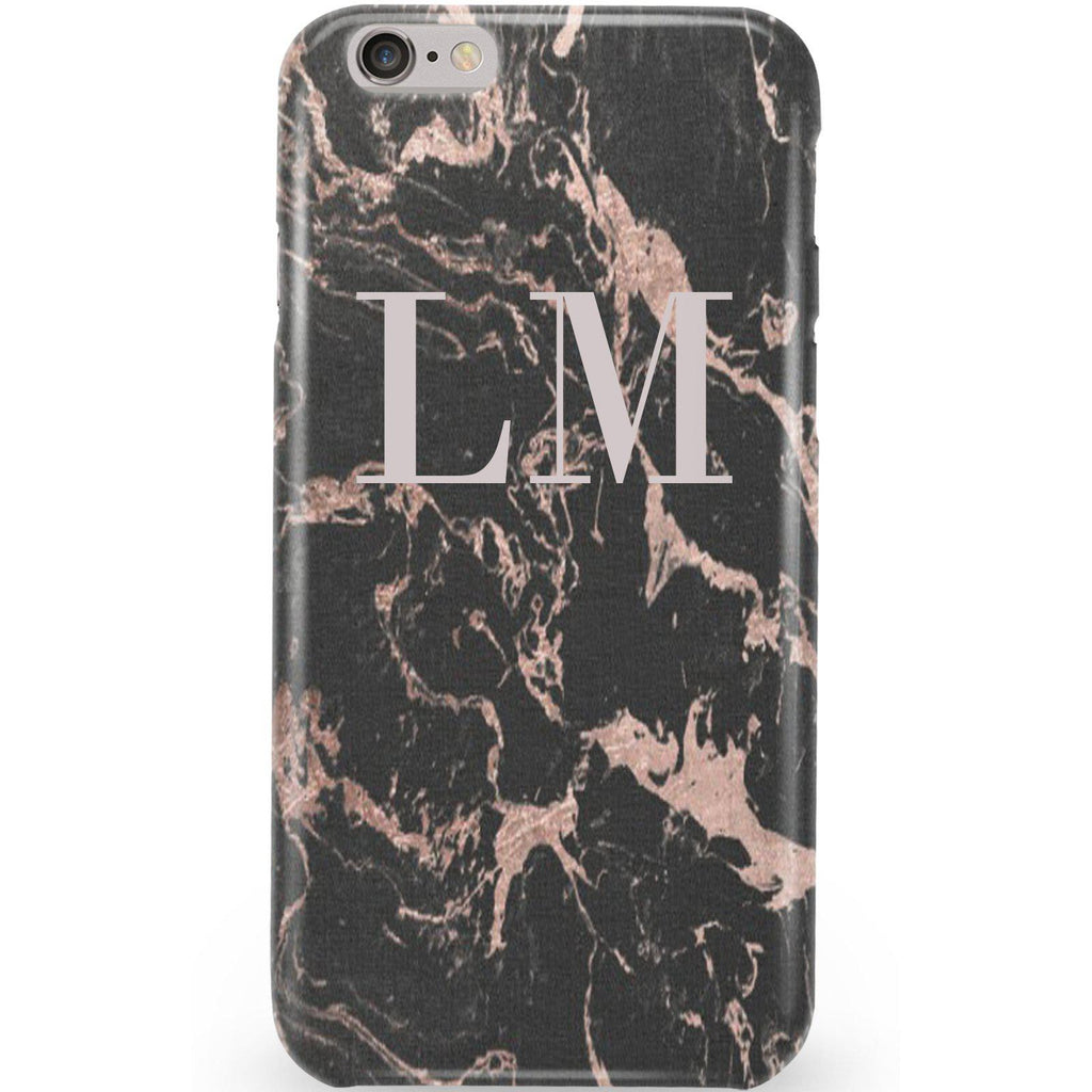 Personalised Black x Pink Marble Initials iPhone 6/6s Case