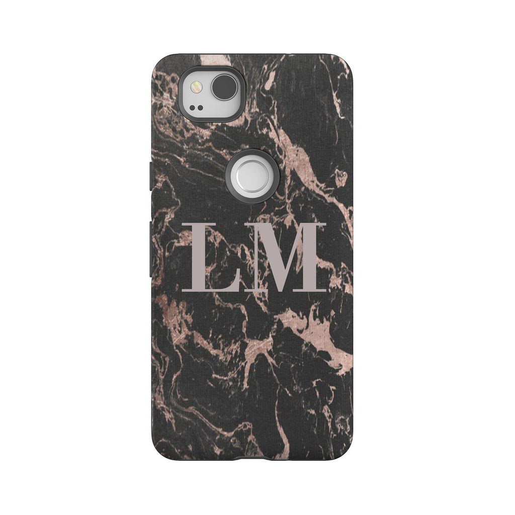 Personalised Black x Pink Marble Google Pixel 2 Case