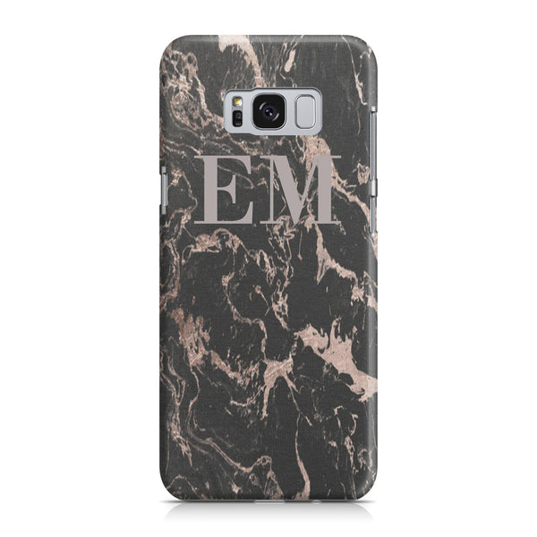 Personalised Black x Pink Marble Initials Samsung Galaxy S8 Case