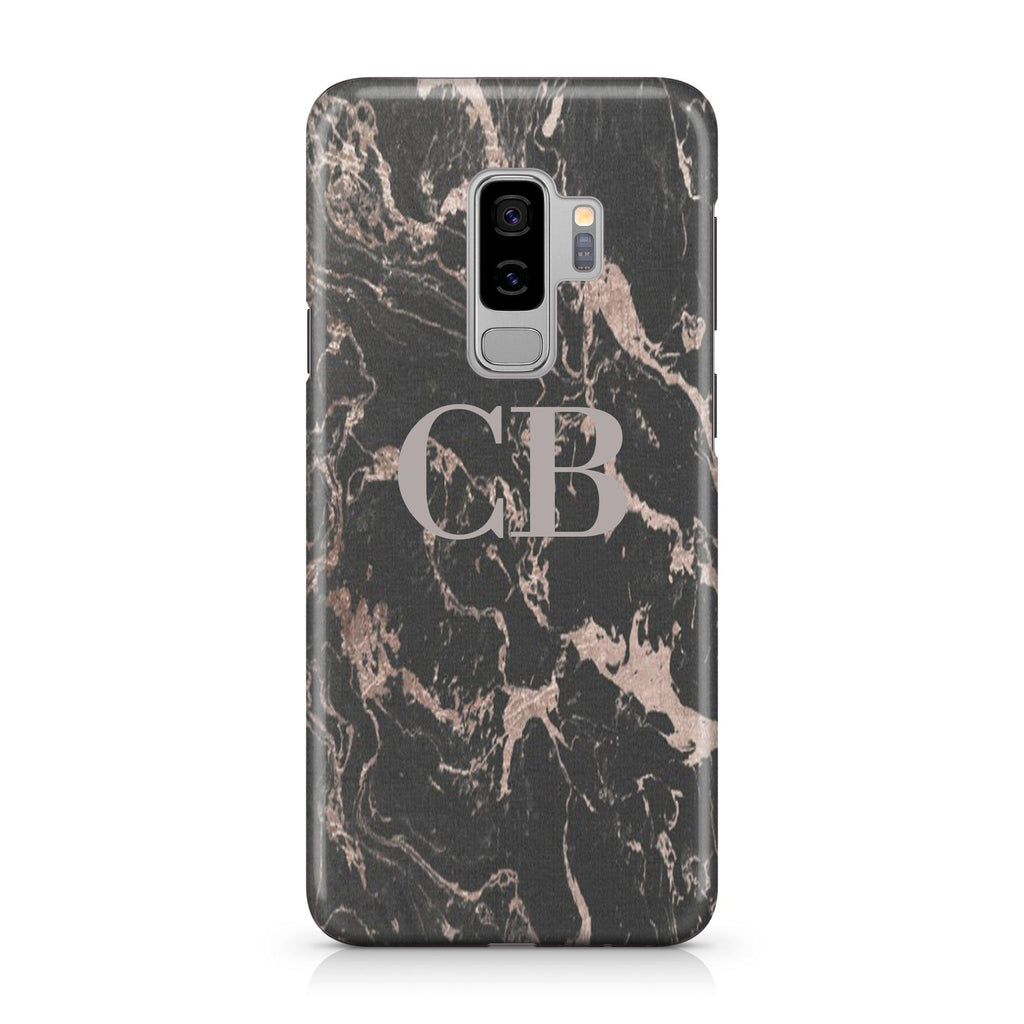 Personalised Black x Pink Marble Initials Samsung Galaxy S9 Plus Case