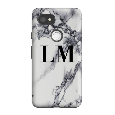Personalised Black x White Marble Initials Google Pixel 2 XL Case