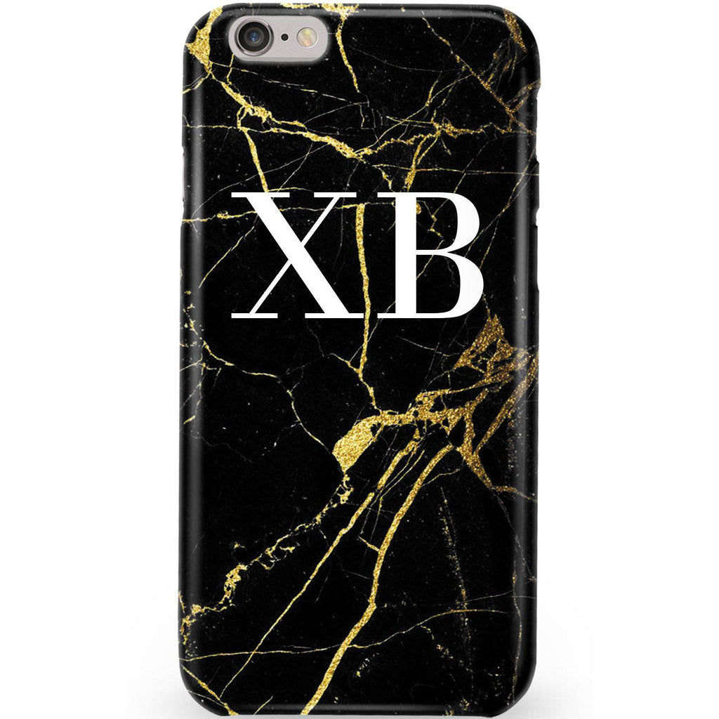 Personalised Black x Gold Marble Initials iPhone 6 Plus/6s Plus Case