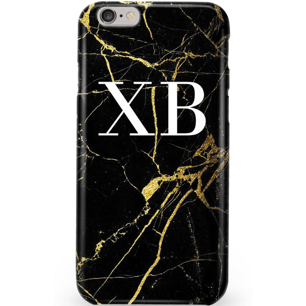 Personalised Black x Gold Marble Initials iPhone 6/6s Case