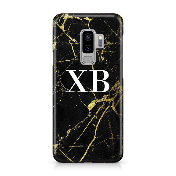 Personalised Black x Gold Marble Initials Samsung Galaxy S9 Plus Case