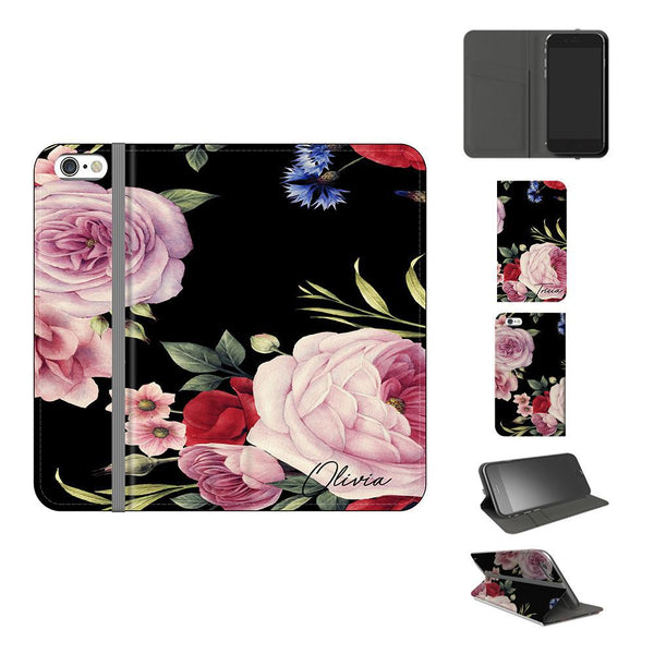 Personalised Black Floral Blossom Initials iPhone 7 Case