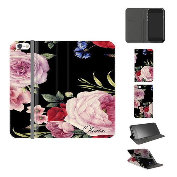Personalised Black Floral Blossom Initials iPhone 6/6s Case