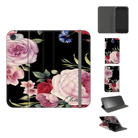 Personalised Black Floral Blossom Initials iPhone 8 Case