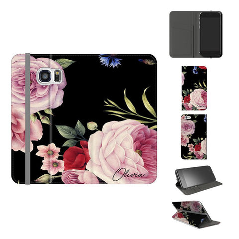 Personalised Black Floral Blossom Initials Samsung Galaxy S7 Case