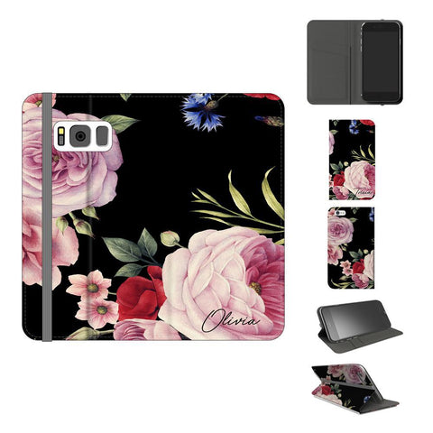 Personalised Black Floral Blossom Initials Samsung Galaxy S8 Plus Case
