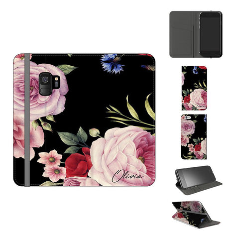 Personalised Black Floral Blossom Initials Samsung Galaxy S9 Case