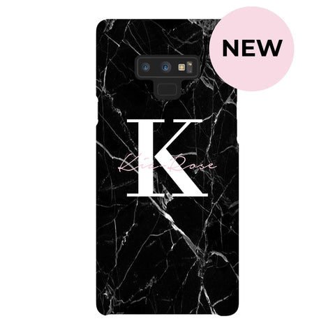 Personalised Black Marble Name Initials Samsung Galaxy Note 9 Case