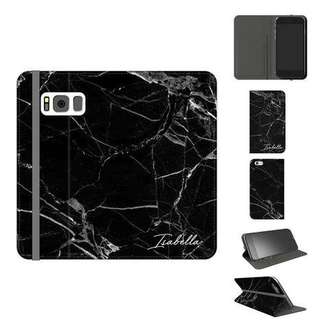 Personalised Black Marble Initials Samsung Galaxy S8 Case