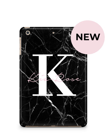 Personalised Black Marble Name Initials iPad Case