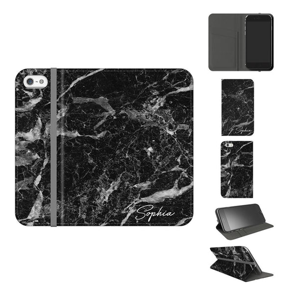 Personalised Black Stone Marble Initials iPhone 5/5S/SE Case